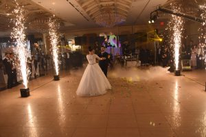 Sparklers and Dancing on Cloud Effect Smoke Machine for the Bride and Groom first dance!
